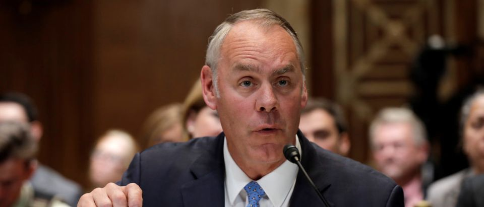 U.S. Interior Secretary Ryan Zinke testifies before a Senate Appropriations Interior, Environment and Related Agencies Subcommittee hearing on the FY2019 funding request and budget justification for the Interior Department, on Capitol Hill in Washington, U.S., May 10, 2018. REUTERS/Yuri Gripas