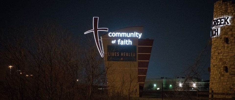 A sign at the front of the Community of Faith church is seen in Houston, Texas on February 12, 2019. - (LOREN ELLIOTT/AFP/Getty Images)