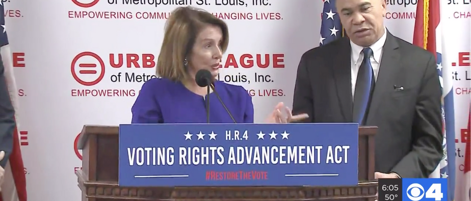 House Speaker Nancy Pelosi in Ferguson, MO (Credit: KMOV Video screen shot)