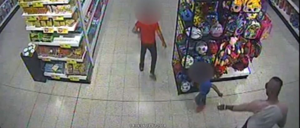 The attack was caught on CCTV inside the Home Bargains store - BBCa