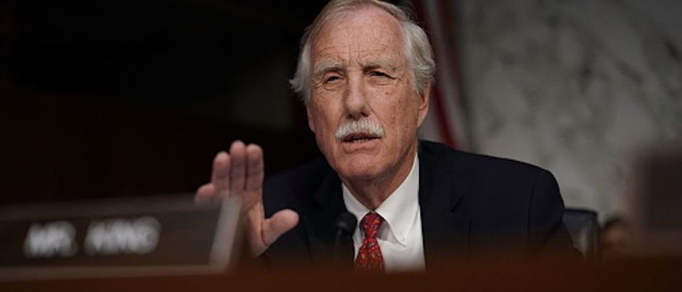 WASHINGTON, DC - MAY 09: U.S. Sen. Angus King (ID-ME) speaks during a confirmation hearing for CIA Director nominee Gina Haspel before the Senate (Select) Committee on Intelligence May 9, 2018 in Washington, DC. If confirmed, Haspel will succeed Mike Pompeo to be the next CIA director. (Photo by Alex Wong/Getty Images)