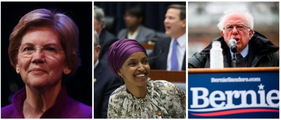 Sen. Warren, Rep. Omar, and Sen. Sanders (LEFT: Mario Tama/Getty Images MIDDLE: Mark Wilson/Getty Images RIGHT: JOHANNES EISELE/AFP/Getty Images)