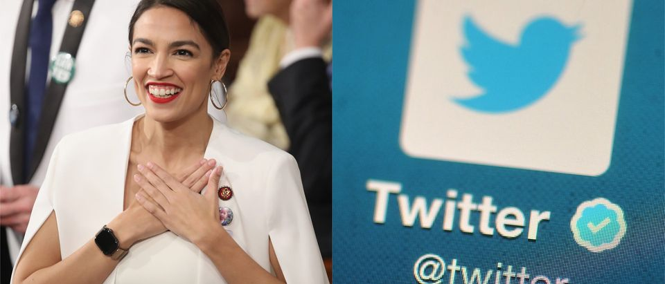 Alexandria Ocasio-Cortez and Twitter/ Getty Images collage/ Bethany Clarke and Win McNamee