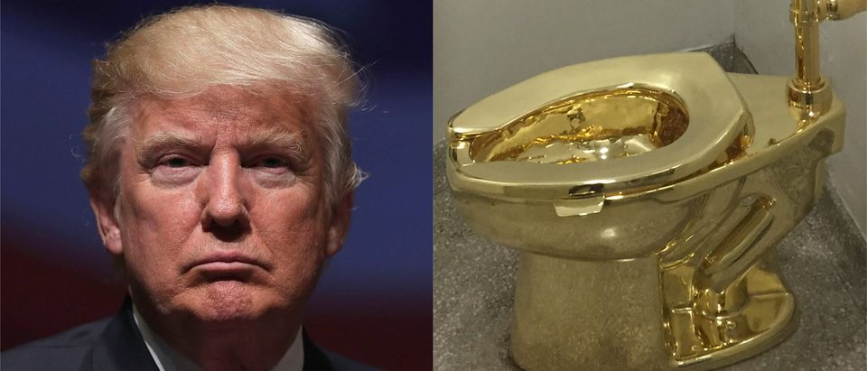 Trump, gold toilet side-by-side/ Getty Images collage