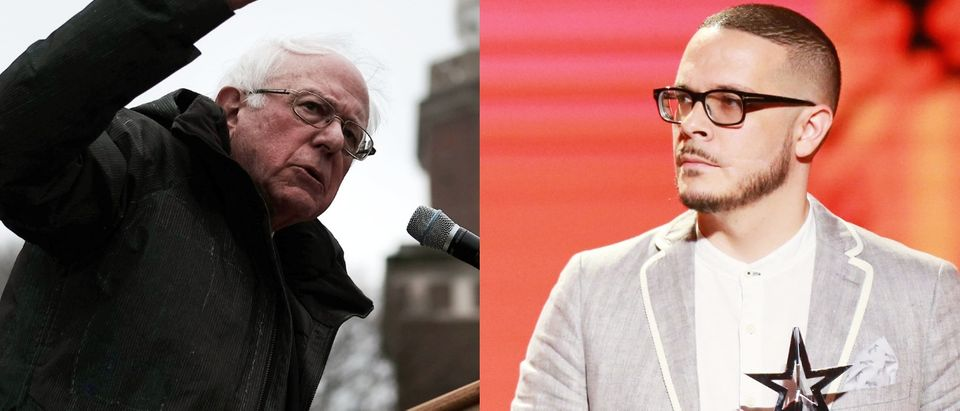 Activist Shaun King (R) introduced 2020 presidential candidate Sen. Bernie Sanders at a rally in Brooklyn, New York, March 2, 2019. Photos by Spencer Platt/Getty Images and Leon Bennett/Getty Images