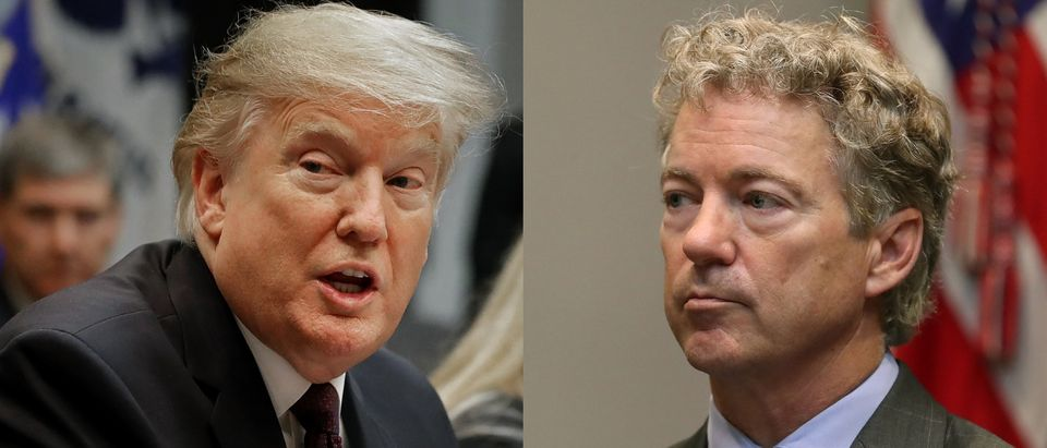 Kentucky Republican Sen. Rand Paul said 10 Republican senators will vote for the resolution to terminate President Donald Trump's national emergency for border wall funding Monday afternoon. Chip Somodevilla/Getty Images and Mark Wilson/Getty Images