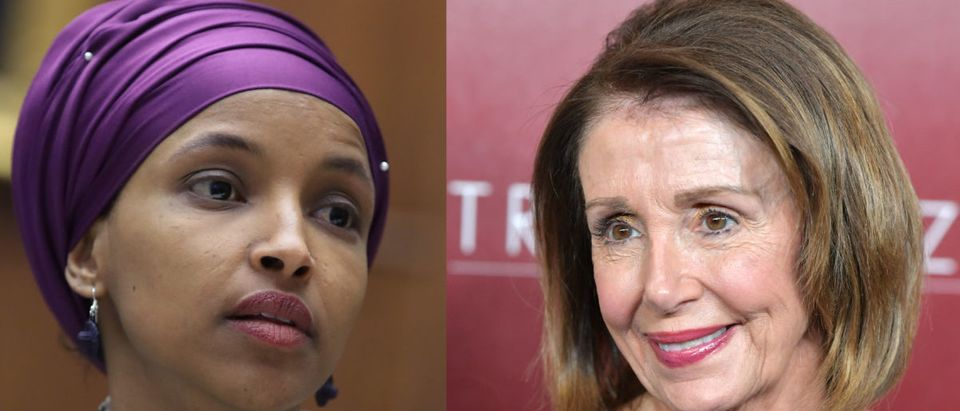 Left: Democratic Minnesota Rep Ilhan Omar Right: Speaker of the House Nancy Pelosi (Right photo: Amy Sussman/Getty Images; Left photo: Mark Wilson/Getty Images)