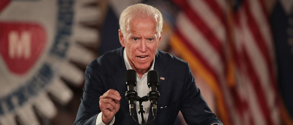 """Former Vice President Joe Biden speaks to supporters of Senator Claire McCaskill at a """"get out the vote"""" rally which on October 31, 2018 in Bridgeton, Missouri. (Photo by Scott Olson/Getty Images)"""