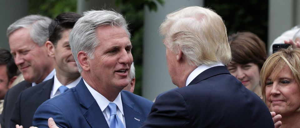 U.S. President Donald Trump (R) greets House Majority Leader Rep. Kevin McCarthy (L) during a Rose Garden event May 4, 2017 at the White House in Washington, DC. (Photo by Alex Wong/Getty Images)