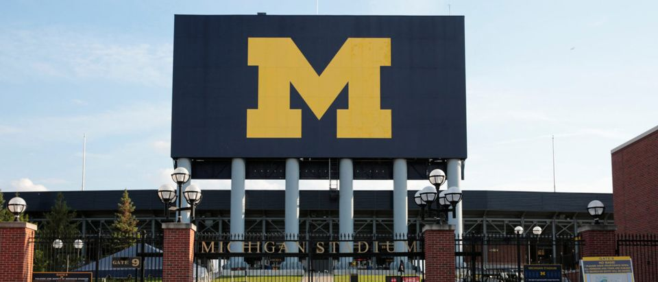 The University of Michigan M is seen at the Michigan football stadium in Ann Arbor, Michigan, U.S., September 18, 2018. Picture taken on September 18, 2018. REUTERS/Rebecca Cook