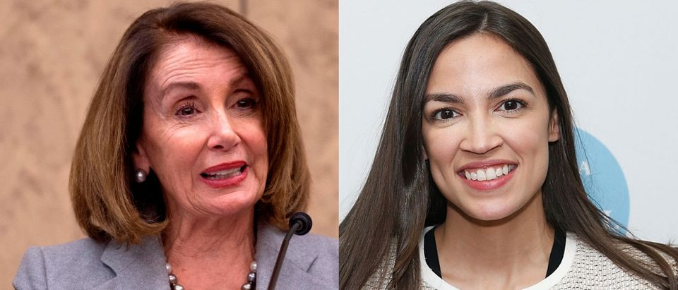 House Speaker Nancy Pelosi (L) is expected to unveil health care legislation to take the pressure off of Democrats when it comes to Medicare for all, a proposal favored by progressives like freshman New York Rep. Alexandria Ocasio-Cortez, March 26, 2019.