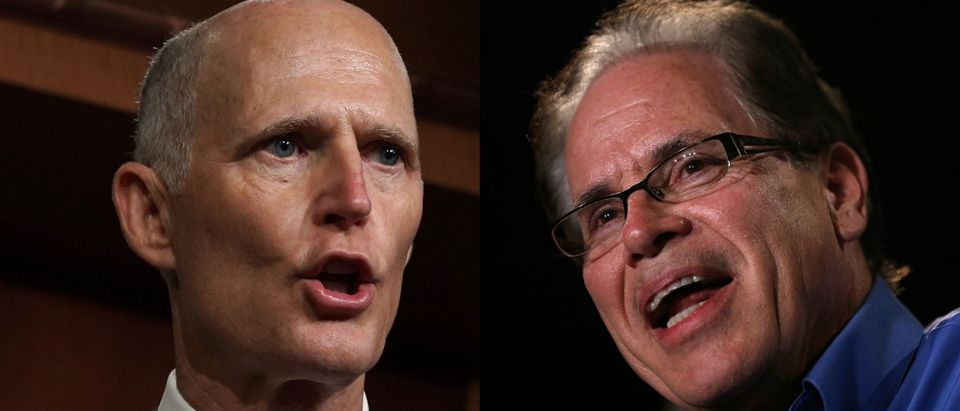 Sens. Rick Scott of Florida and Mike Braun of Indiana, both of whom have net worths well into the millions, are the Banning Lobbying and Safeguarding Trust (BLAST) Act's only cosponsors. Jim Young/Getty Images and Alex Wong/Getty Images