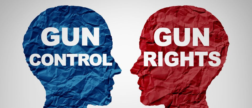 Two heads oppose each other; one for gun control and the other for gun rights. shutterstock_1025724823