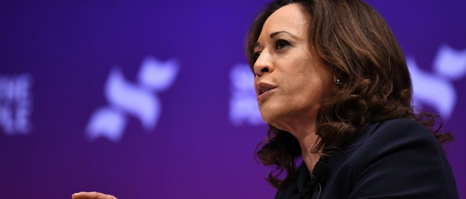 U.S. Democratic presidential candidate Kamala Harris participates in the She the People Presidential Forum in Houston