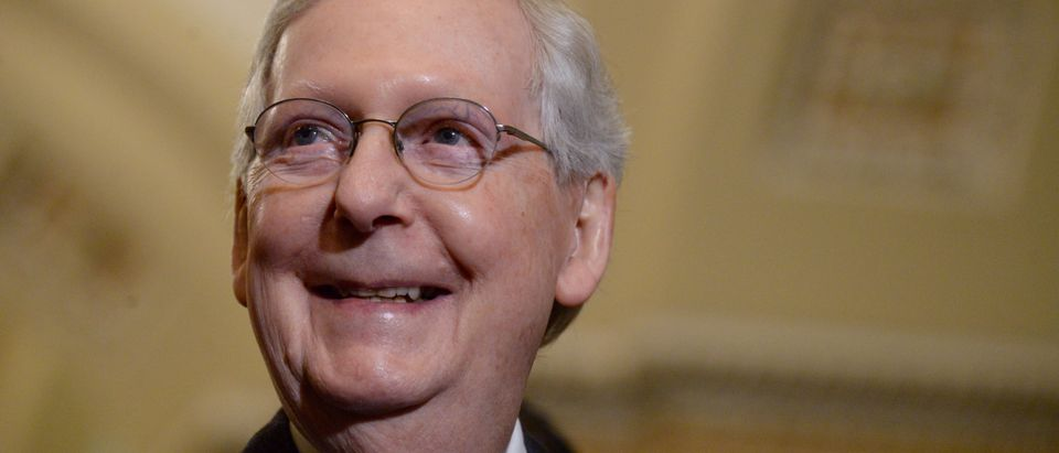 FILE PHOTO: Senate Majority Leader Mitch McConnell speaks with the press in Washington