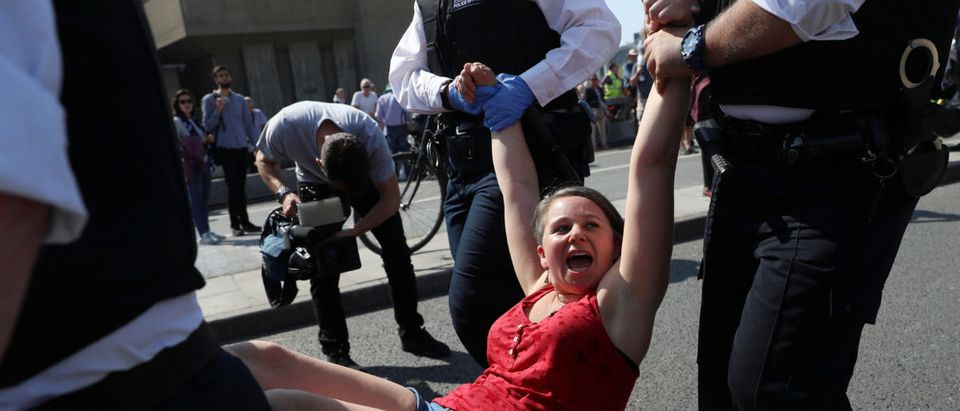 A climate change activist is detained during the Extinction Rebellion protest at Waterloo Bridge in London, Britain, April 19, 2019. REUTERS/Simon Dawson