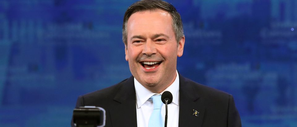 UCP leader Jason Kenney reacts at his election night headquarters in Calgary