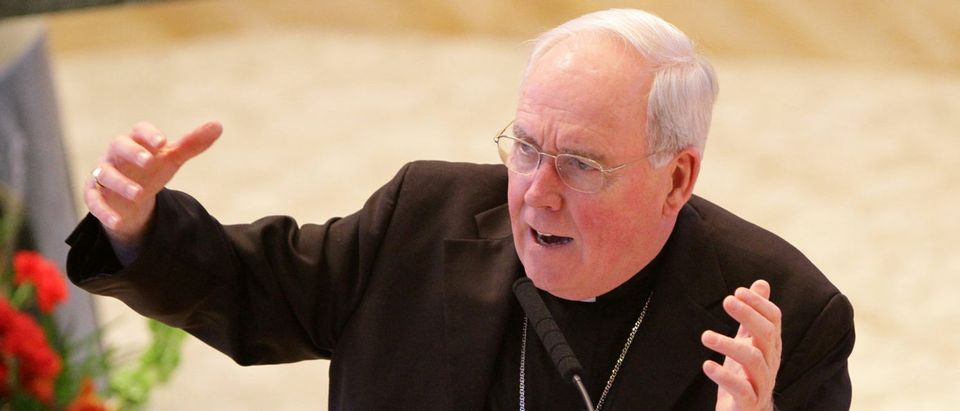 Bishop Richard J. Malone of the Roman Catholic Diocese of Buffalo, New York, gives a presentation during a gathering of New York state bishops and catechetical leaders at the Immaculate Conception Center in the Douglaston neighborhood of the Queens borough of New York, U.S., Sept. 27, 2012. REUTERS/Gregory A. Shemitz
