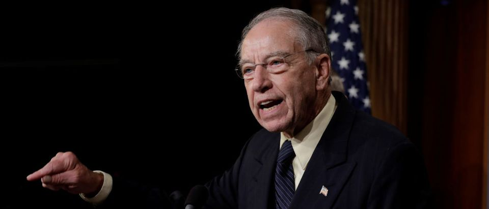 U.S. Senate Judiciary Committee Chairman Sen. Chuck Grassley speaks during a news conference to discuss the FBI background investigation into the assault allegations against U.S. Supreme Court nominee Judge Brett Kavanaugh on Capitol Hill in Washington, U.S., Oct. 4, 2018. REUTERS/Yuri Gripas