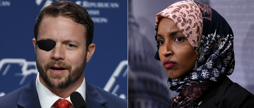 Dan Crenshaw (Ethan Miller, Getty Images), Ilhan Omar (Alex Wong, Getty Images)