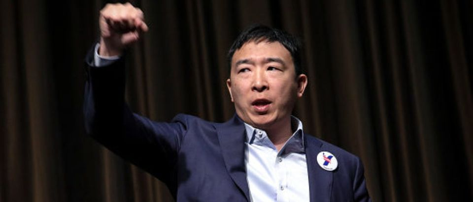 NEW YORK, NY - APRIL 3: Entrepreneur and Democratic presidential candidate Andrew Yang exits the stage after speaking at the National Action Network's annual convention, April 3, 2019 in New York City. A dozen 2020 Democratic presidential candidates will speak at the organization's convention this week. Founded by Rev. Al Sharpton in 1991, the National Action Network is one of the most influential African American organizations dedicated to civil rights in America. (Photo by Drew Angerer/Getty Images)