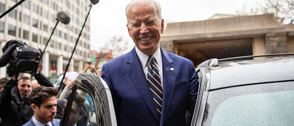 Former Vice President Joe Biden waves to supporters at the International Brotherhood of Electrical Workers Construction and Maintenance conference on April 05, 2019 in Washington, DC. (Tasos Katopodis/Getty Images)