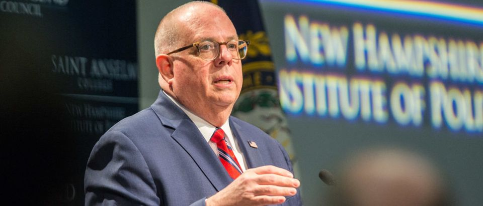 Maryland Gov. Larry Hogan speaks at the New Hampshire Institute of Politics as he mulls a presidential run on April 23, 2019 in Manchester, New Hampshire. (Photo by Scott Eisen/Getty Images)