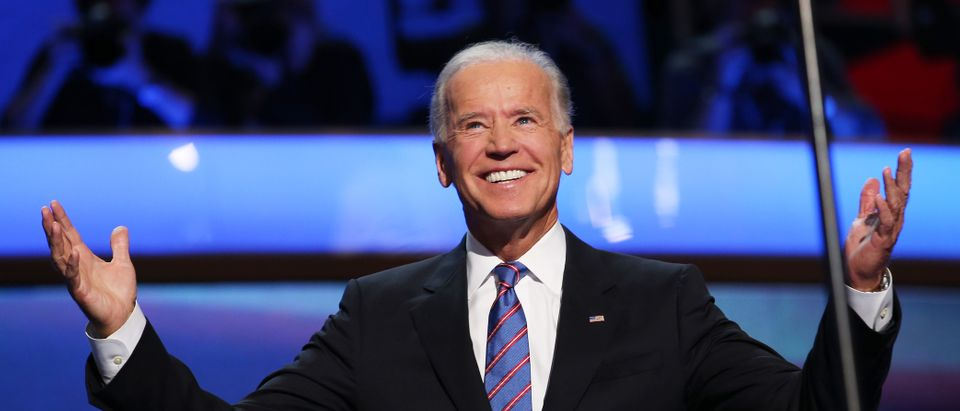 Democratic vice presidential candidate, U.S. Vice President Joe Biden walks on stage during the final day of the Democratic National Convention at Time Warner Cable Arena on September 6, 2012 in Charlotte, North Carolina. The DNC, which concludes today, nominated U.S. President Barack Obama as the Democratic presidential candidate. (Photo by Chip Somodevilla/Getty Images)