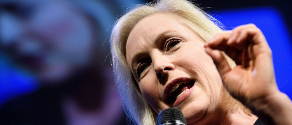 """Senator Kirsten E. Gillibrand (D-NY), a 2020 US Presidential hopeful, speaks during the """"We The People"""" Summit at the Warner Theatre April 1, 2019, in Washington, DC. (Photo by Brendan Smialowski / AFP) (Photo credit should read BRENDAN SMIALOWSKI/AFP/Getty Images)"""