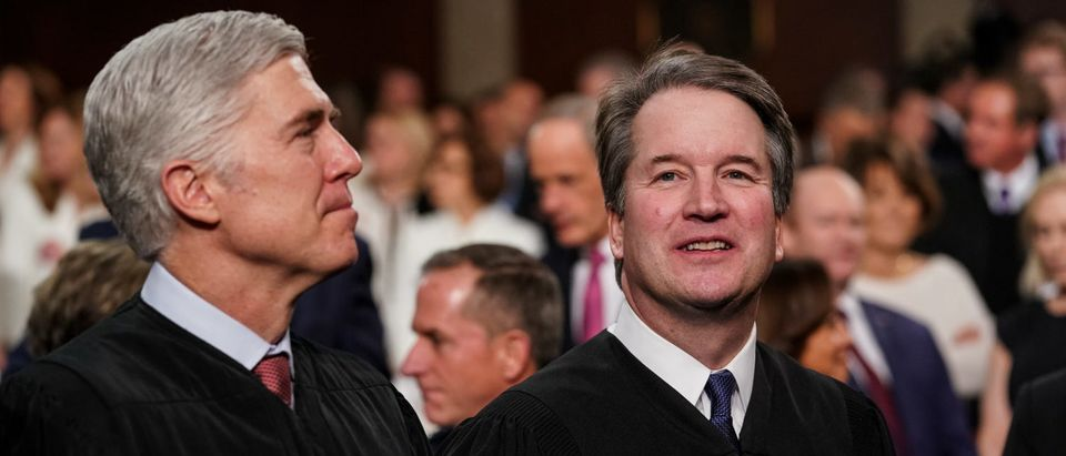 Supreme Court Justices Neil Gorsuch and Brett Kavanaugh attend the State of the Union address at the U.S. Capitol on February 5, 2019. (Doug Mills/Getty Images)