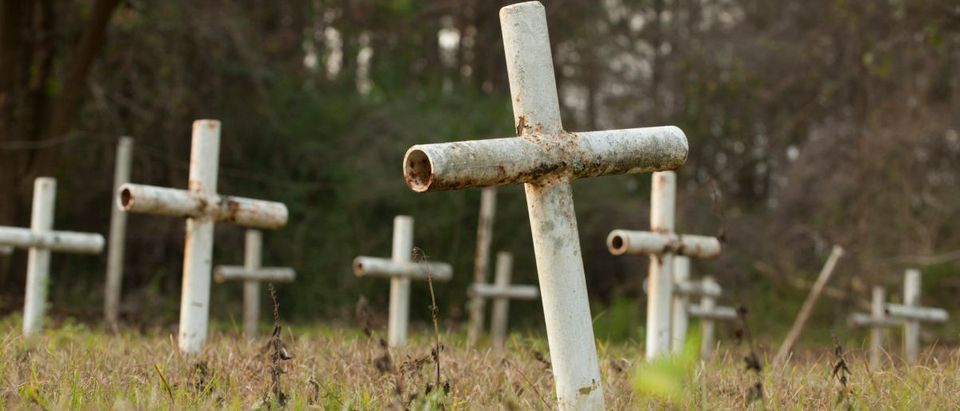 White metal crosses mark graves at the cemetery of the former Arthur G. Dozier School for Boys in Marianna, Florida, December 10, 2012. REUTERS/Michael Spooneybarger