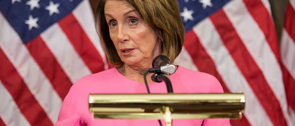 House Minority Leader Nancy Pelosi (D-CA) holds a news conference following the 2018 midterm elections at the Capitol Building on November 7, 2018 in Washington, DC (Photo by Zach Gibson/Getty Images)