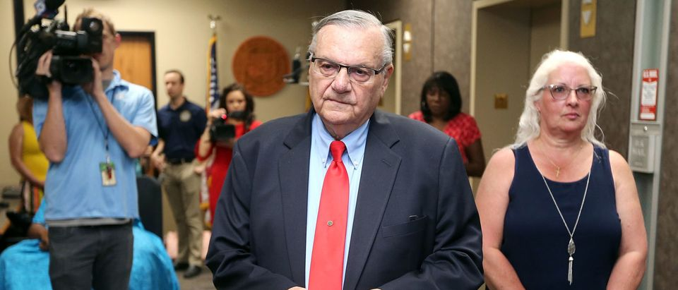 Former Maricopa County Sheriff Joe Arpaio waits at the Arizona State Capitol to file petitions to run for the U.S. Senate on May 22, 2018. (Ralph Freso/Getty Images)