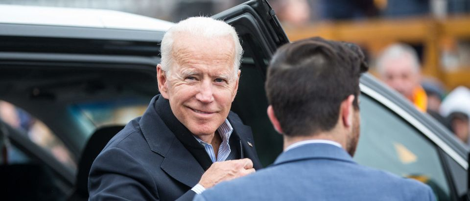 DORCHESTER, MA - APRIL 18: Former Vice President Joe Biden arrives in front of a Stop & Shop in support of striking union workers on April 18, 2019 in Dorchester, Massachusetts. Thousands of unionized Stop & Shop workers across New England walked off the job last week in an ongoing strike in response to a proposed contract which the United Food & Commercial Workers union says would cut health care benefits and pensions for employees. (Photo by Scott Eisen/Getty Images)
