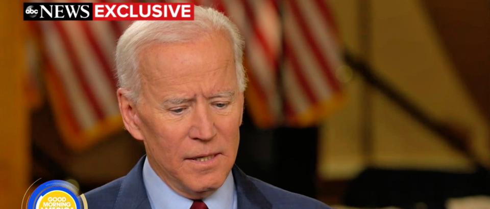 "Former Vice President Joe Biden speaks on ""Good Morning America"" in April 2019. (Screenshot/ABC News)"