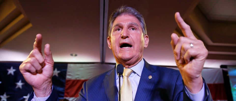 Senator Joe Manchin (D-WV) speaks after winning the 2018 midterm elections in Charlestown, West Virginia