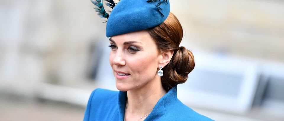Britain's Catherine, Duchess of Cambridge leaves after attending a service of commemoration and thanksgiving to mark Anzac Day in Westminster Abbey in London on April 25, 2019. - Anzac Day marks the anniversary of the first major military action fought by Australian and New Zealand forces during the First World War. The Australian and New Zealand Army Corps (ANZAC) landed at Gallipoli in Turkey during World War I. (Photo credit: DANIEL LEAL-OLIVAS/AFP/Getty Images)