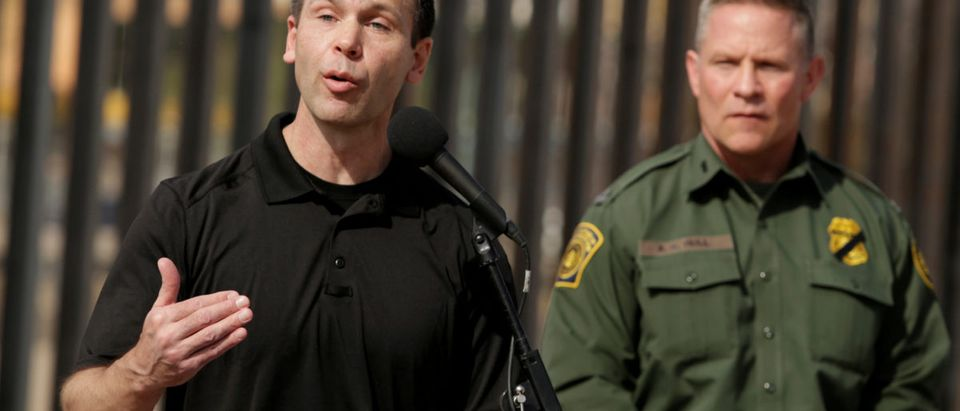 FILE PHOTO: U.S. Customs and Border Protection Commissioner Kevin K. McAleenan speaks about the impact of the dramatic increase in illegal crossings that continue to occur along the Southwest during a news conference, in El Paso, Texas March 27, 2019. REUTERS/Jose Luis Gonzalez