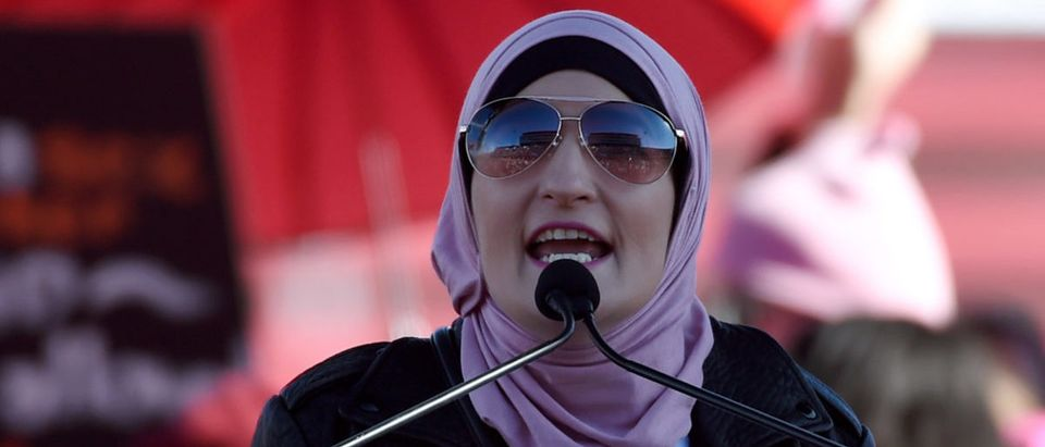 """Women's March Co-Chairwoman Linda Sarsour speaks during the Women's March """"Power to the Polls"""" voter registration tour launch at Sam Boyd Stadium on January 21, 2018 in Las Vegas, Nevada. (Photo by Ethan Miller/Getty Images)"""