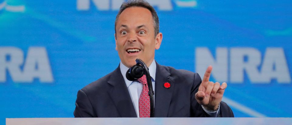 Governor of Kentucky, Matt Bevin, addresses the 148th National Rifle Association (NRA) annual meeting in Indianapolis, Indiana