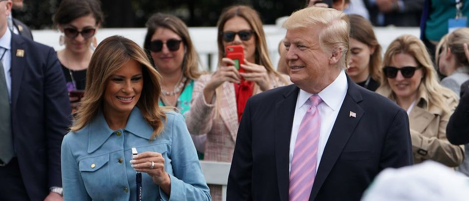US President Donald Trump and First Lady Melania Trump take part in the annual White House Easter Egg Roll on the South Lawn of the White House in Washington, DC on April 22, 2019. (Photo credit: MANDEL NGAN/AFP/Getty Images)