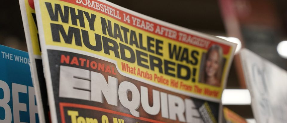 U.S. tabloid newspaper the National Enquirer is on display for sale in Washington, U.S., April 10, 2019. REUTERS/Jeenah Moon