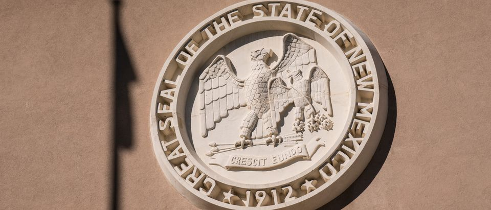 New Mexico State Seal at the entrance to the New Mexico Capitol Building. New Mexico has joined the National Popular Vote Interstate Compact. Photo by Shutterstock/Paul Brady Photography.
