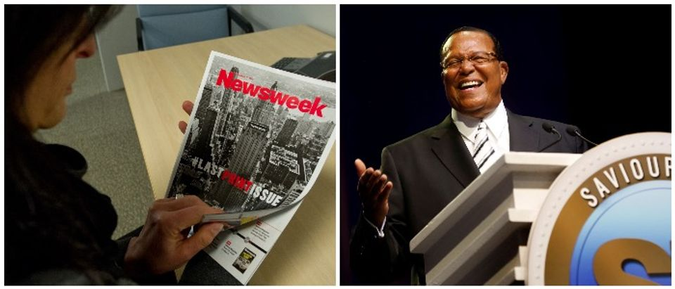 Newsweek and Farrakhan (LEFT: KAREN BLEIER/AFP/Getty Images RIGHT: REUTERS/Rebecca Cook)