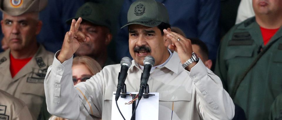 Venezuela's President Nicolas Maduro speaks during a ceremony to mark the 17th anniversary of the return to power of Venezuela's late President Hugo Chavez in Caracas, Venezuela April 13, 2019. REUTERS/Carlos Garcia Rawlins