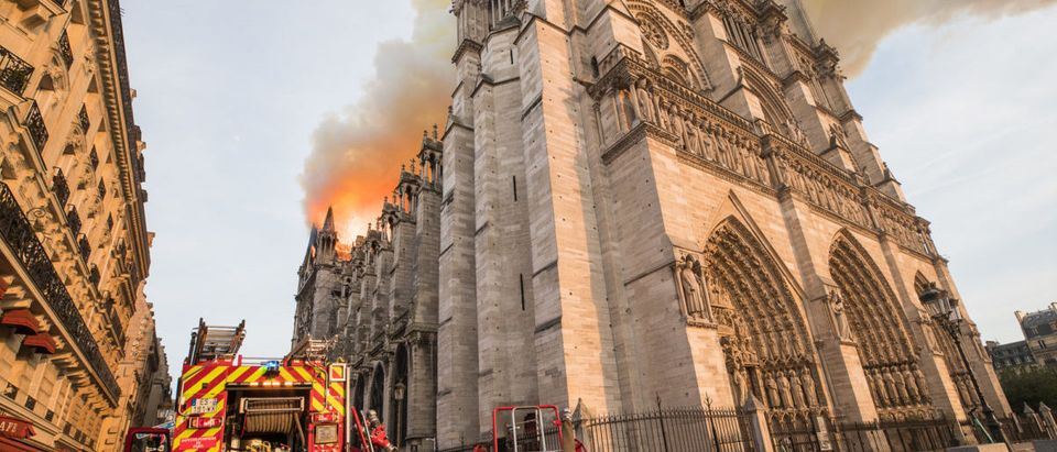 Paris fire brigade trucks are seen outside the Notre Dame-Cathedral, in this image provided by the Paris Fire Brigade, after a fire broke out, in Paris, France, April 15, 2019. Picture taken April 15, 2019. B.MOSER©BSPP/Handout via REUTERS