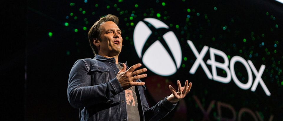 Phil Spencer, Microsoft Corp's Executive Vice President of Gaming, speaks at one of the company's Xbox events in this undated photo released from Microsoft Corporation in Redmond, Washington, U.S. on March 14, 2019. Courtesy Microsoft Corp./Handout via REUTERS