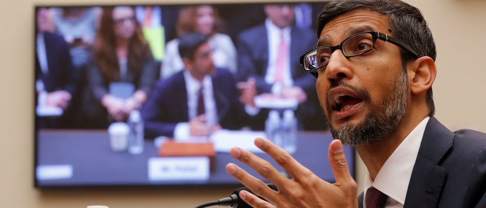 "Google CEO Sundar Pichai testifies at a House Judiciary Committee hearing ""examining Google and its Data Collection, Use and Filtering Practices"" on Capitol Hill in Washington, U.S., Dec. 11, 2018. REUTERS/Jim Young"