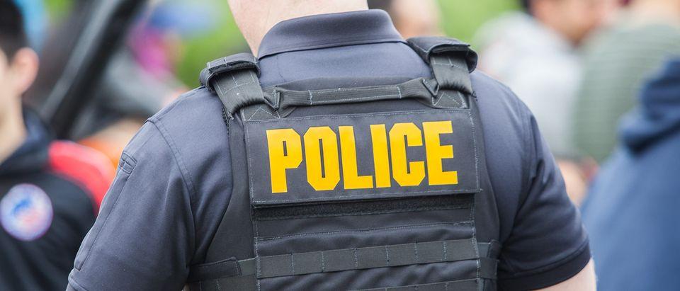 Policeman wearing vest