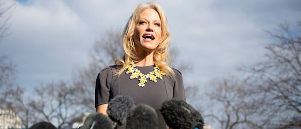 Counselor to U.S. President Donald Trump Kellyanne Conway speaks to the press outside the West Wing of the White House in Washington, D.C., on Jan. 9, 2018. (Photo: JIM WATSON/AFP/Getty Images)